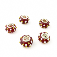 10 Lampwork Glass 14x9mm European Charm Beads Red